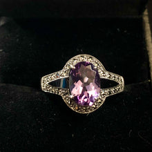 Load image into Gallery viewer, Contemporary Sterling Silver Opal claw set Amethyst Ring
