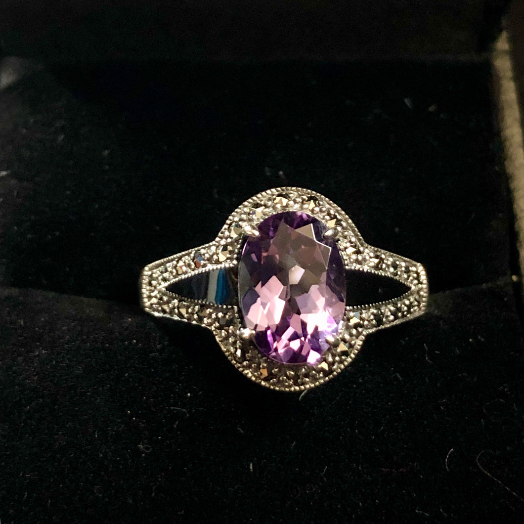 Contemporary Sterling Silver Opal claw set Amethyst Ring