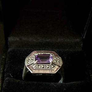 Contemporary Sterling Silver Art Deco style Amethyst Ring