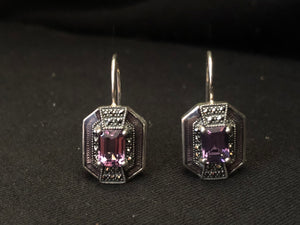 Contemporary Sterling Silver Amethyst Earrings