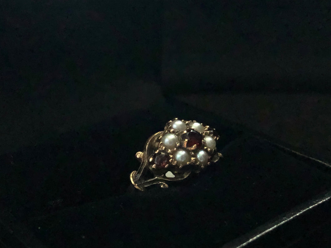 "circa 1890 9ct yellow gold garnet and fresh water pearl ""forget-me-not"" cluster ring with foliate shoulder"