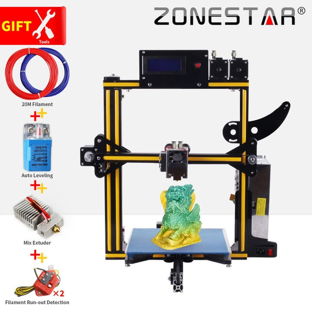 ZONESTAR Newest 1 or 2 color Full Metal Aluminum Frame Optional Auto Leveling Filament Run out Detect 3d printer DIY kit - Primo Print