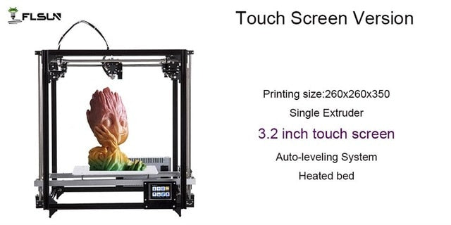 2019 Newest Flsun 3d printer Large Printing Area 260*260*350mm Touch Screen Dual Extruder Metal Frame 3D Printer kit Heated Bed - Primo Print
