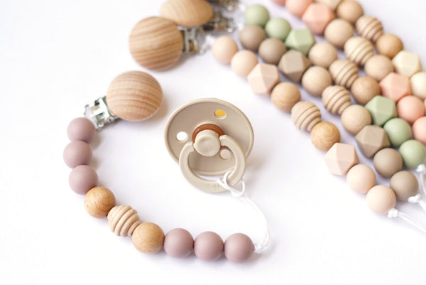 Silicone + Wood Pacifier Clip