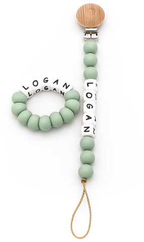 Personalized Pacifier Clip + Teether - Smoky Mint