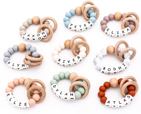 Personalized Silicone + Wood Teething Rattle