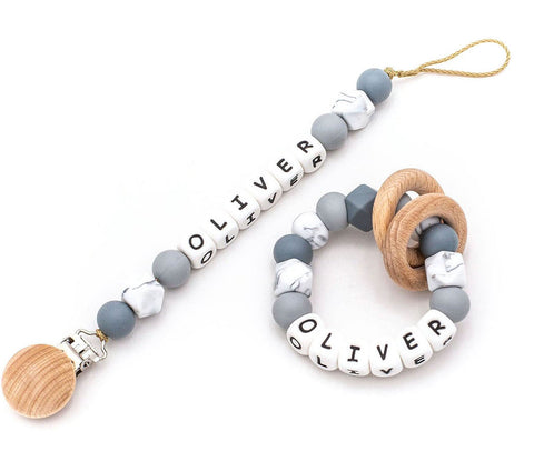 Personalized Pacifier + Rattle - Grey