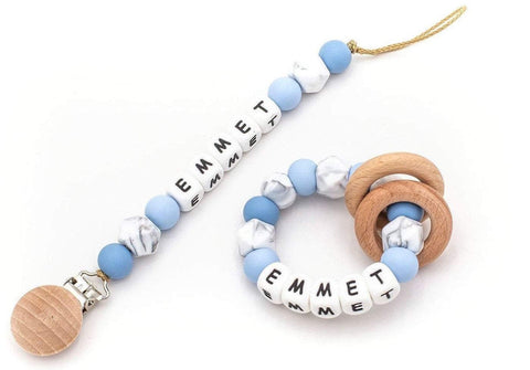 Personalized Pacifier + Rattle - Baby Blue
