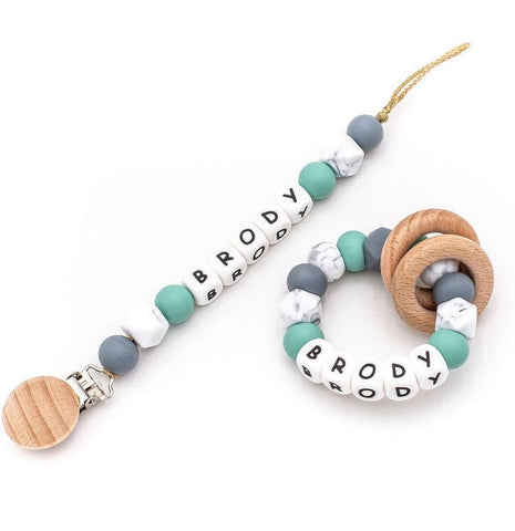 Personalized Pacifier + Rattle - Jade