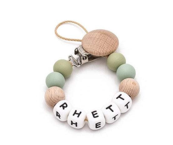 Silicone + Wood Personalized Pacifier Clip