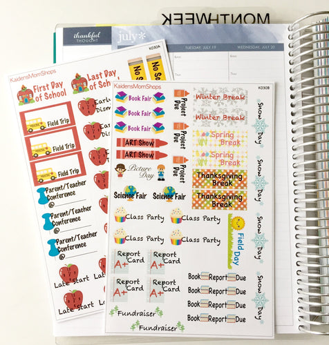 School Events 2 Page Sticker Kit - K030