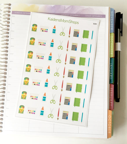 School Supplies Variety Sticker Sheet - S139