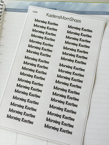 Morning and Evening Routine Word Stickers - S158