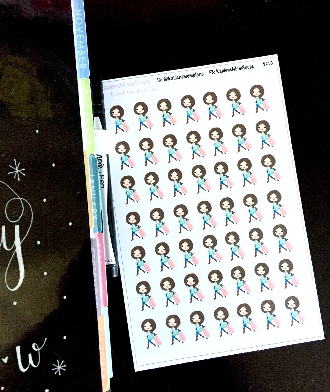 Travel Vacation Girl Stickers - S211