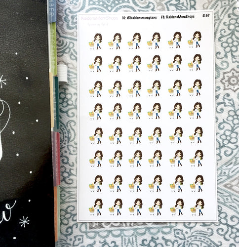 Grocery Shopping Girl Stickers - S197