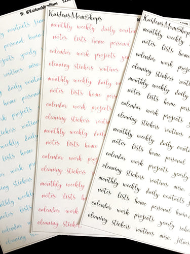 Fancy Script Divider Label Stickers - Pink, Blue, or Black - S220