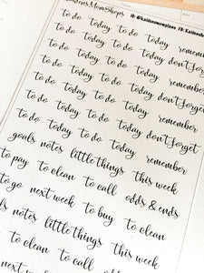 Fancy Script Word Headers Stickers - S230