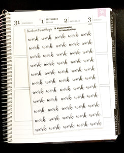 Work Fancy Script Word Stickers - S223
