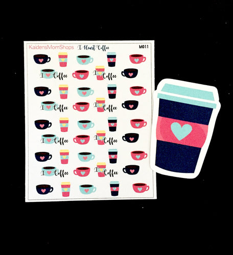 I Love Coffee Mini Sticker Sheet and Die Cut - M011