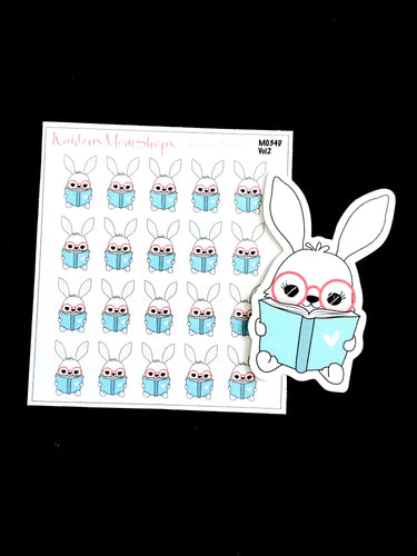 Lily Bunny Reading Mini Sticker Sheet and Die Cut - M034D