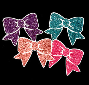 Faux Glitter Bow Die Cuts - Set of 4