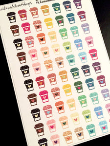 Glitter Coffee Cup Stickers - S011