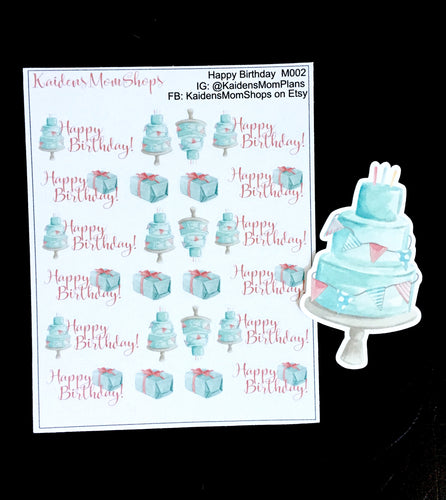 Happy Birthday Mini Sticker Sheet and Die Cut - M002