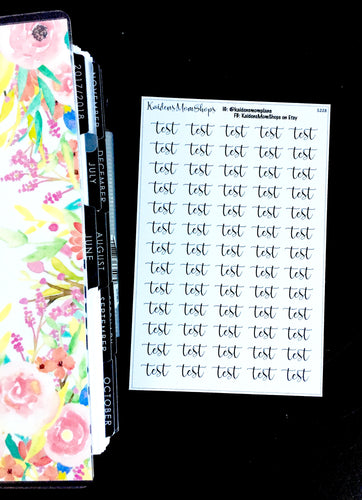 Test Word Fancy Script Sticker Sheet - S228