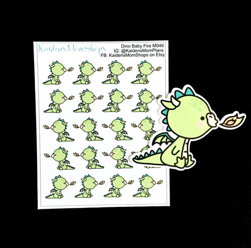 Dino Baby Fire Breathing Mini Sticker Sheet and Die Cut - M046
