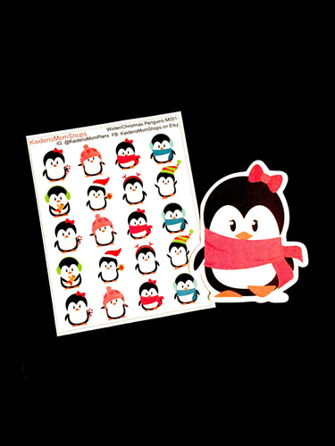Winter Christmas Penguin Sampler  Mini Sticker Sheet and Die Cut