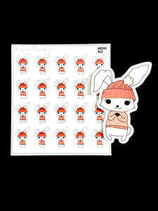 Winter Lily Bunny Mini Sticker Sheet and Die Cut - M034E
