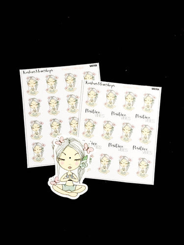 Positive Vibes / Meditation Girl Mini Sticker sheet and die cut