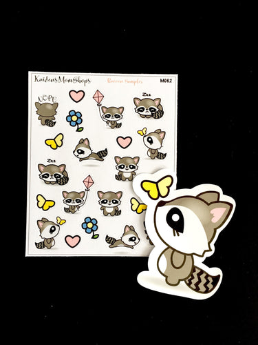 Raccoon Sampler Mini Sticker Sheet and or Die Cut
