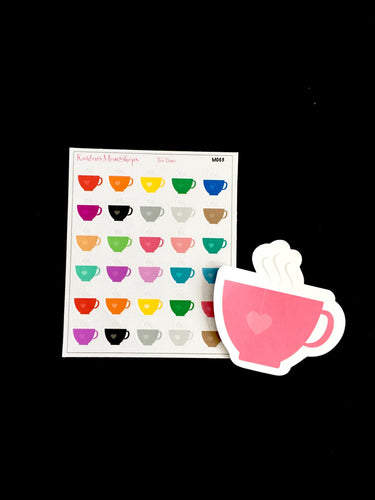 Tea Time Tea Cups Mini Sticker Sheet and Die Cut - M063
