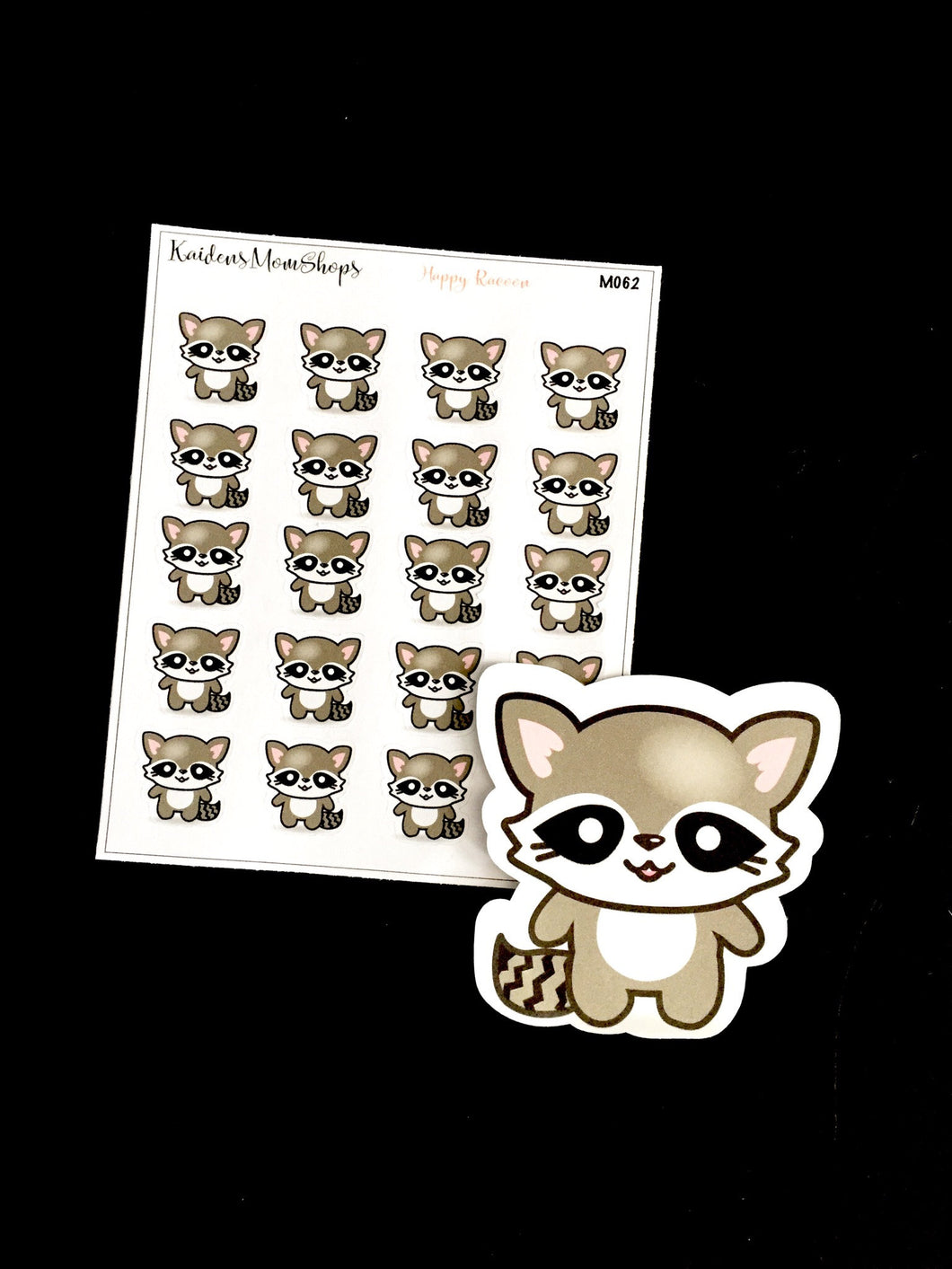 Smiling Raccoon Mini Sticker Sheet and Die Cut
