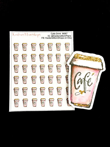 Pink Cafe Coffee Mini Sticker Sheet and Die Cut - M067