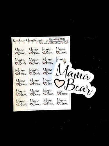 Mama Bear Mini Sticker Sheet and Die Cut