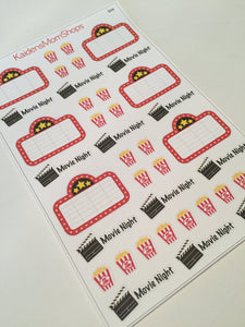 Movie Night Popcorn Stickers - S116