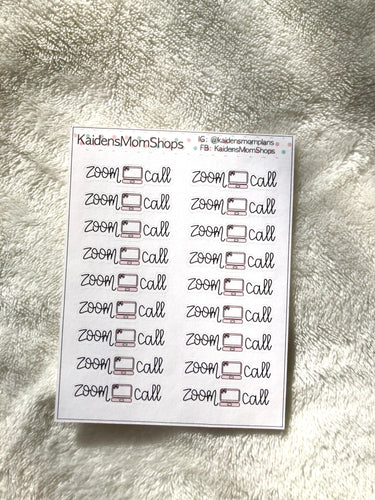 Zoom Call Mini Sticker Sheet - Handlettered