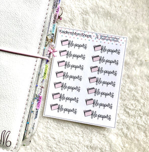 File Papers Mini Sticker Sheet - Handlettered