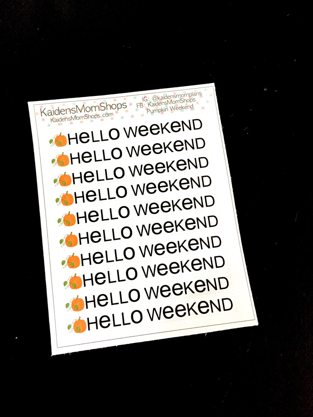 Pumpkin Hello Weekend Banner Mini Sticker Sheet