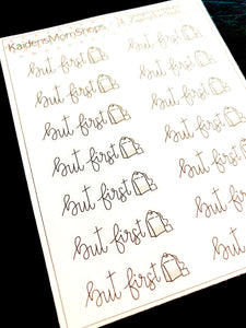 But First Tea Mini Sticker Sheet - Handlettered