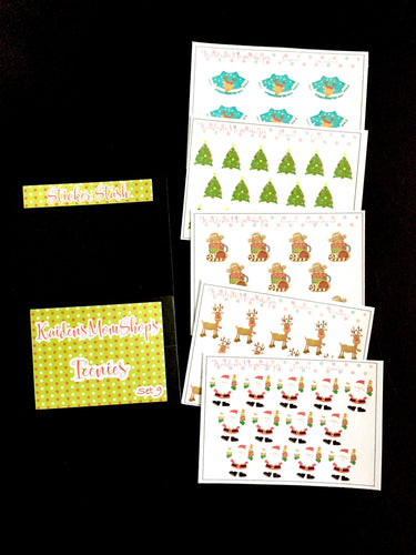 Teenies Set 9 - Christmas Collection - 5 Teenie Sticker Sheets and a pocket