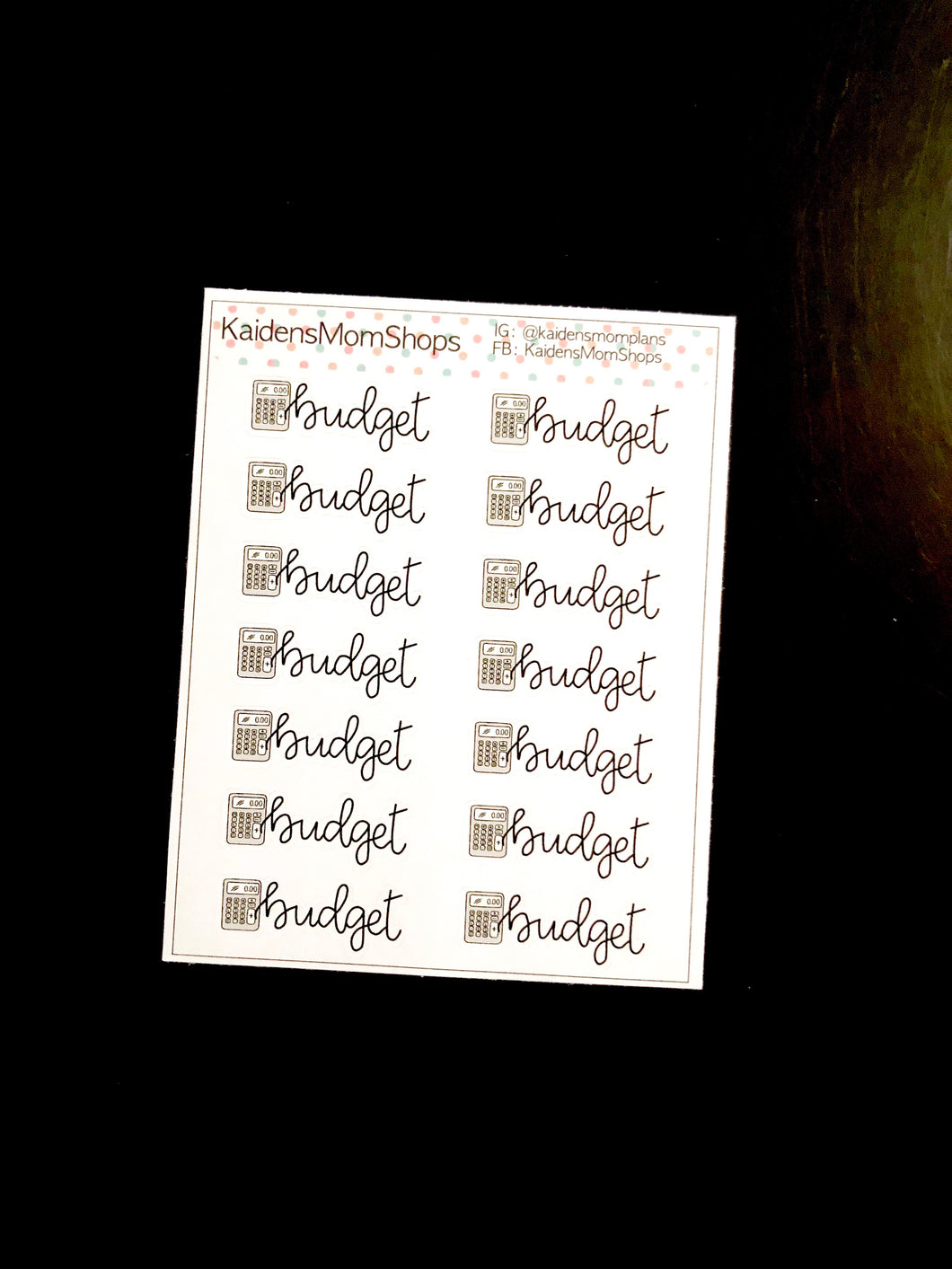 Budget Mini Sticker Sheet - Handlettered