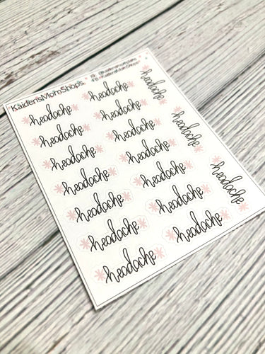 Headache Mini Sticker Sheet - Handlettered