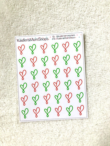 Handdrawn Hearts - Red and Green Christmas Mini Sticker Sheet