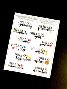 Hello Monthly Mini Sticker Sheet