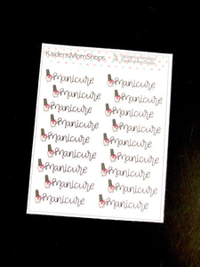 Manicure Mini Sticker Sheet - Handlettered
