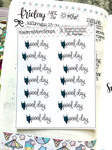 Pool Day Mini Sticker Sheet - Handlettered