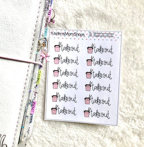 Takeout Mini Sticker Sheet - Handlettered
